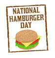 national hamburger day sign or stamp vector image