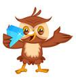 owl holding diamond on white background vector image vector image