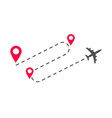 plane flight way path trace with arrival pin vector image