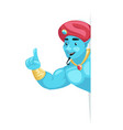pointing finger up arabian genie turban look out vector image vector image