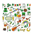 saint patrick s day traditional symbols collection vector image