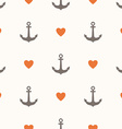 Seamless pattern with anchors and hearts vector image