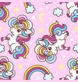 seamless pattern with unicorns rainbow vector image vector image