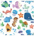 seamless texture with cartoon fishes prints vector image