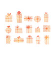 set cream-colored christmas gift boxes with red vector image vector image