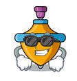 super cool spinning top character cartoon vector image