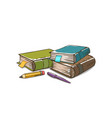 tree books with pen and pencil books vector image vector image