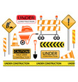 under construction sign and icon set vector image