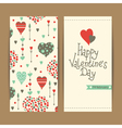 valentine card set with hearts and arrows vector image vector image