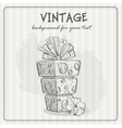 Vintage background with a birthday cake vector image vector image