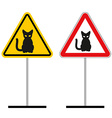 Warning sign attention cats Hazard yellow sign a vector image vector image