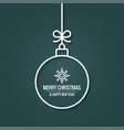 xmas ball with christmas snowflake on retro green vector image
