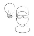 young man with bulb vector image vector image