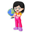 young teenager girl holding globe vector image