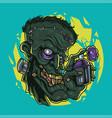 zombie head mascot logo design vector image vector image