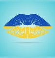 ukraine flag lipstick on the lips isolated on a vector image