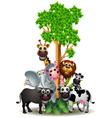 various funny cartoon safari animal vector image