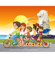A family bike near the statue of Merlion vector image vector image