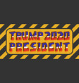 a plate with a 3d inscription trump 2020 vector image vector image