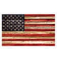 accurate usa flag painted on old rustic timber vector image