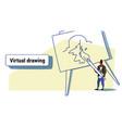 artist man wearing vr digital glasses holding vector image
