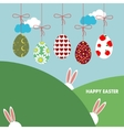 Background with hanging eggs rabbits and vector image