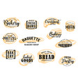 bakery and pastry bread sketch lettering vector image vector image