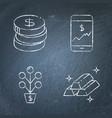 chalkboard stock market and exchange icon set vector image vector image