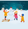children make a snowman together vector image