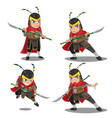 china armor warrior character set vector image vector image
