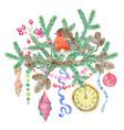 christmas and new year holiday emblem vector image vector image