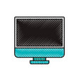 colored crayon silhouette of lcd monitor vector image vector image