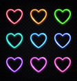 colorful hearts collection in modern neon style vector image