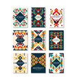 colorful set of 9 card templates with vector image vector image
