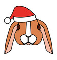 cute rabbit with warm hat christmas vector image