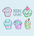 doodle cupcakes set vector image
