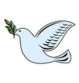 dove of peace flying with olive branch vector image vector image