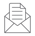 envelope with letter thin line icon mail and post vector image vector image