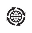 globe with arrows - black icon on white background vector image vector image