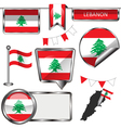 Glossy icons with Lebanese flag vector image vector image