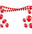 glossy red balloons and flaf background vector image