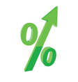 Green percentage symbol with an arrow up concept vector image