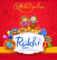 greeting card with decorative rakhi for raksha vector image vector image