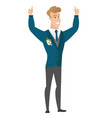 groom standing with raised arms up vector image vector image