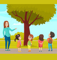 group elementary school on walk boy and girl and vector image