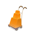 hand truck with stack of carton packages vector image vector image