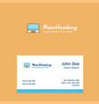 laptop logo design with business card template vector image vector image