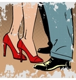 love man and woman dance hugs pop art comics retro vector image