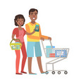 man and woman shopping for groceries in vector image vector image