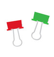 metal paper clip of red and green color isolated vector image vector image